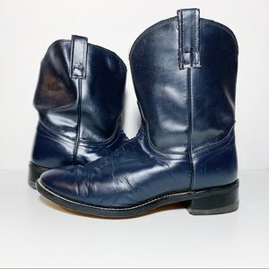 Navy Blue Leather Short Cowboy Boots Wide EE